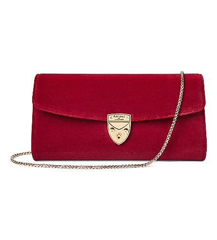 ASPINAL OF LONDON Mini eaton velvet clutch bag (Scarlet