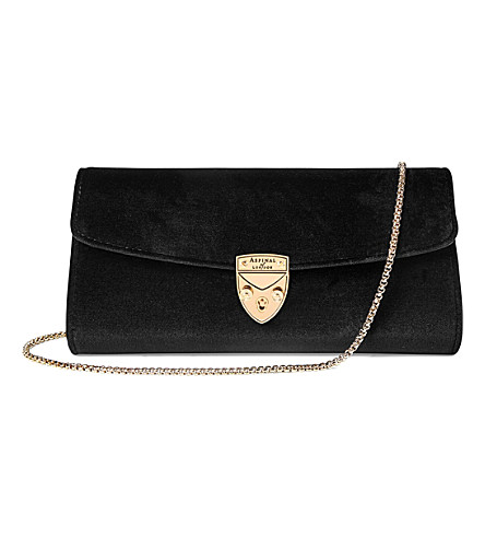 ASPINAL OF LONDON Mini Eaton velvet clutch (Black