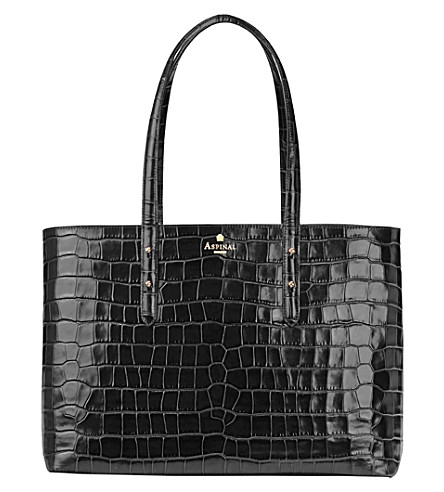 ASPINAL OF LONDON Regent mock-croc leather tote bag (Black