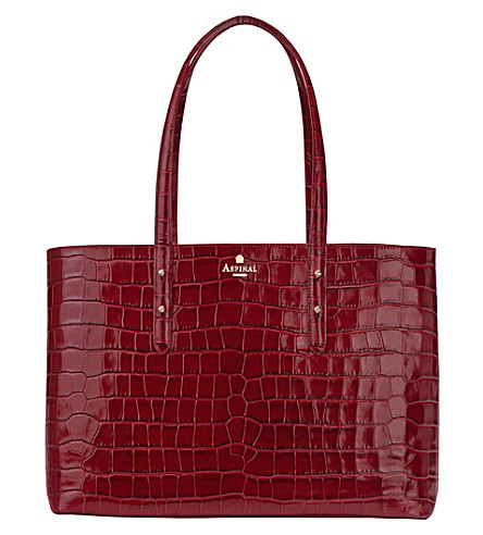 ASPINAL OF LONDON Regent croc-embossed leather tote bag (Burgundy