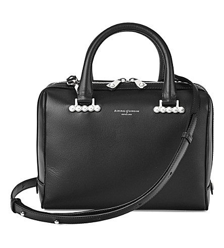 ASPINAL OF LONDON Mini Pearl leather bowling bag small (Black