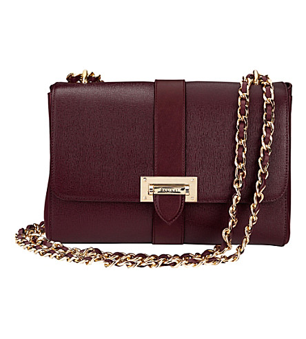 ASPINAL OF LONDON Lottie chain-strap leather bag (Burgundy