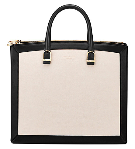 ASPINAL OF LONDON Editors two-tone leather tote (Monochrome