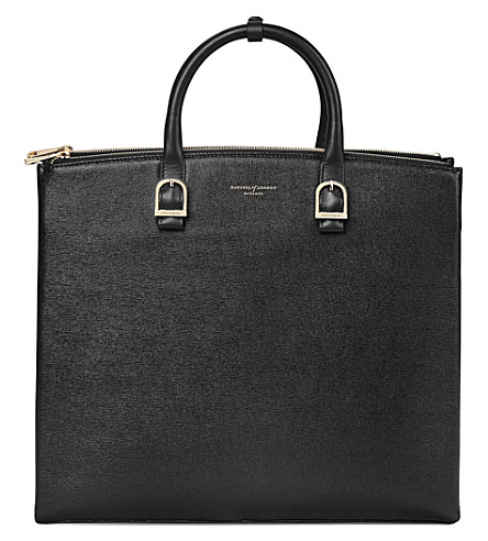 ASPINAL OF LONDON Editor's leather tote (Black