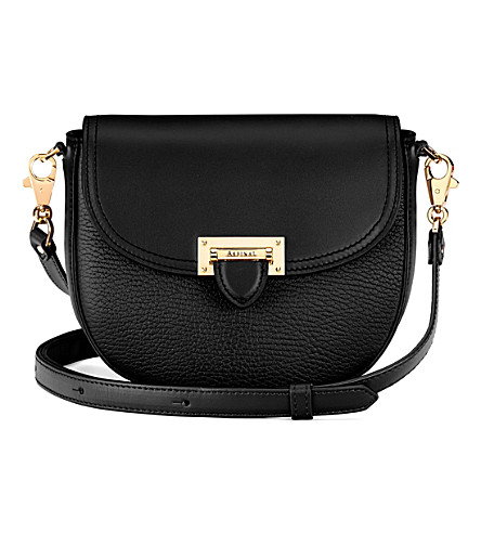 ASPINAL OF LONDON Letterbox leather saddle bag (Black
