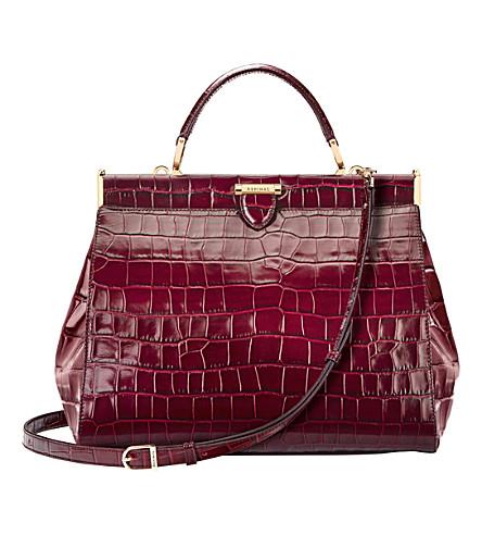 ASPINAL OF LONDON The Dockery large embossed leather handbag (Bordeaux