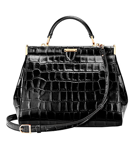 ASPINAL OF LONDON Small Florence Frame embossed leather tote (Black