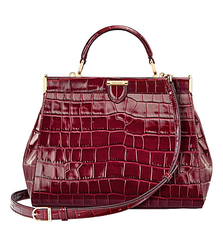 ASPINAL OF LONDON The Dockery small embossed leather handbag (Bordeaux