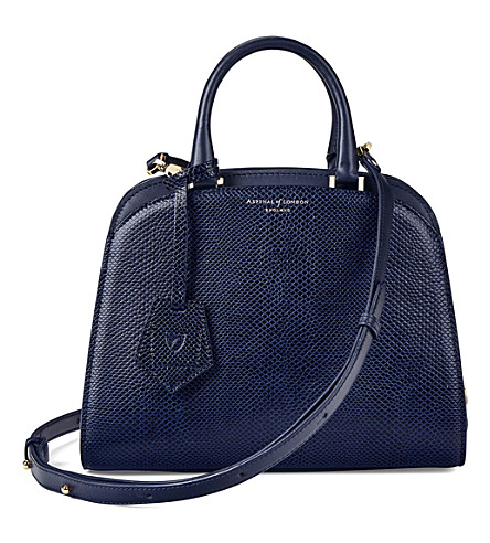 ASPINAL OF LONDON New mini Hepburn lizard-embossed leather tote (Navy