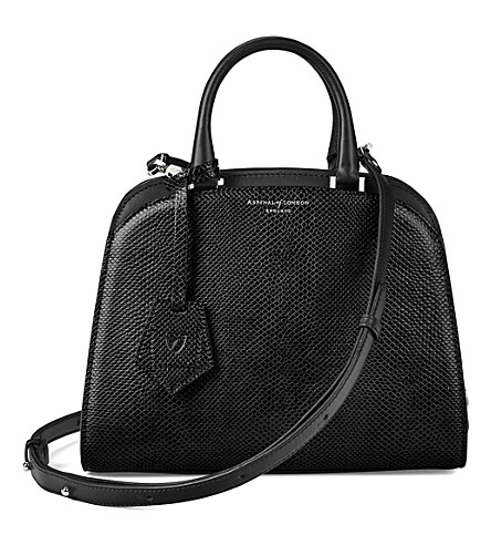 ASPINAL OF LONDON New mini Hepburn lizard-embossed leather tote (Black