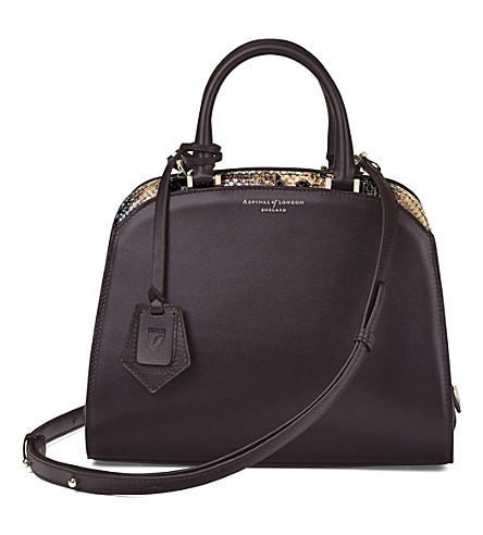 ASPINAL OF LONDON New mini Hepburn leather tote (Brown