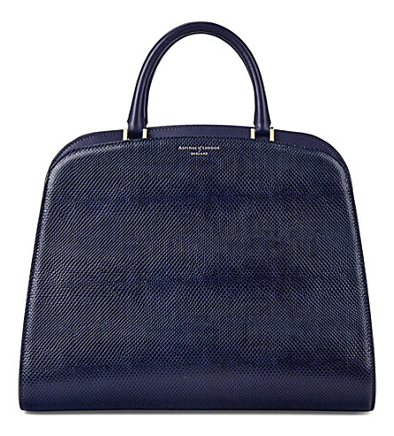 ASPINAL OF LONDON New Hepburn lizard-embossed leather tote (Blue