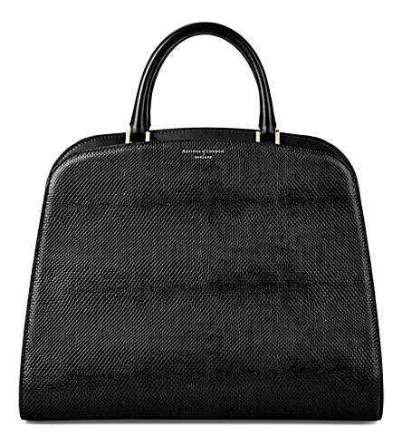 ASPINAL OF LONDON New Hepburn lizard-embossed leather tote (Black