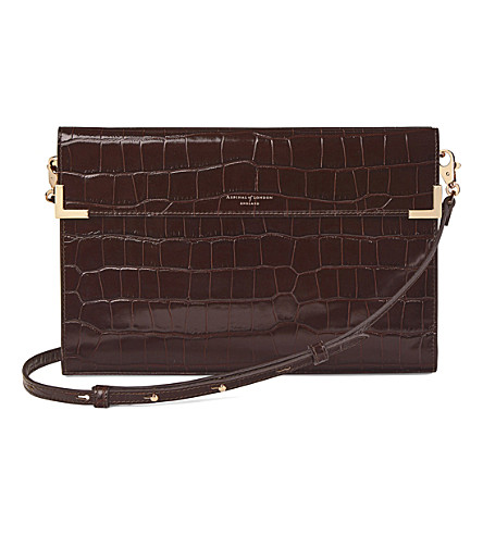 ASPINAL OF LONDON Editor's croc-embossed leather clutch (Amazon+brown