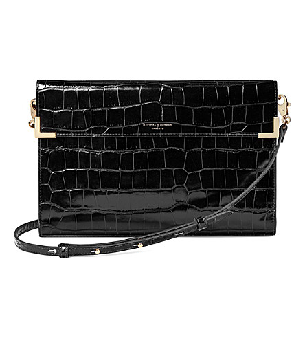 ASPINAL OF LONDON Editor's croc-embossed leather clutch (Black