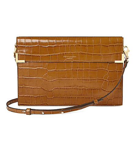 ASPINAL OF LONDON Editor's croc-embossed leather clutch (Natural+tan
