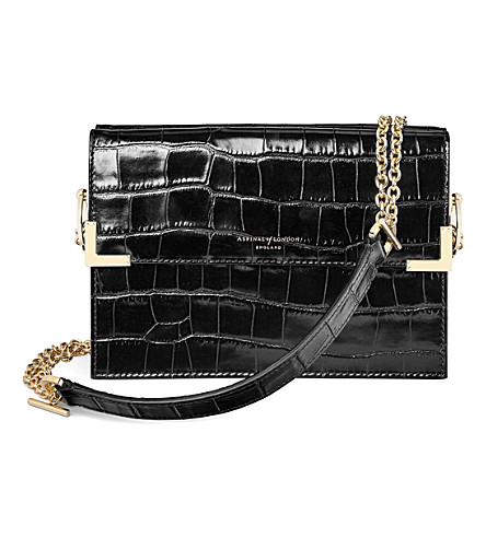 ASPINAL OF LONDON Chelsea croc-embossed leather shoulder bag (Black