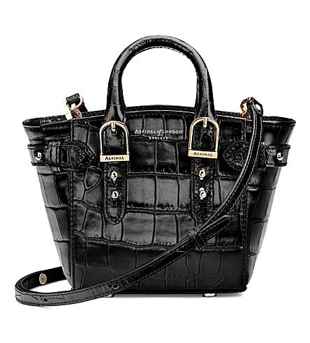 ASPINAL OF LONDON Marylebone micro crocodile-embossed leather tote handbag (Black