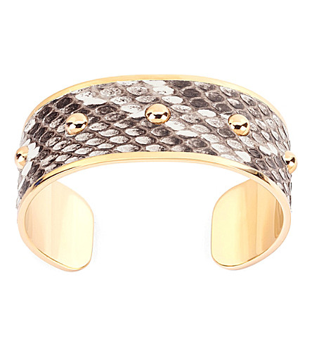 ASPINAL OF LONDON Athena python-leather cuff bracelet m (Brown