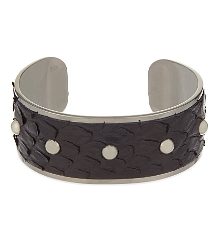 ASPINAL OF LONDON Athena python-leather cuff bracelet M (Black
