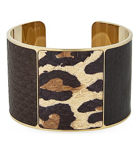 ASPINAL OF LONDON Minerva snake-skin cuff (Leopard
