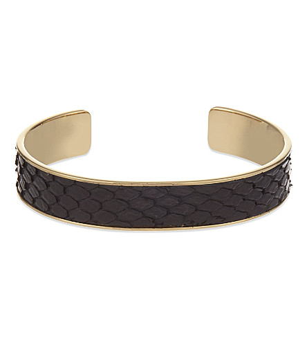 ASPINAL OF LONDON Cleopatra skinny python-leather cuff bangle S (Black