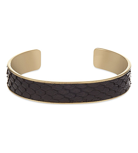 ASPINAL OF LONDON Cleopatra python-leather cuff bangle M (Black