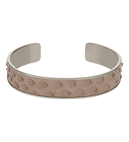 ASPINAL OF LONDON Cleopatra skinny python-leather cuff bangle S (Nude