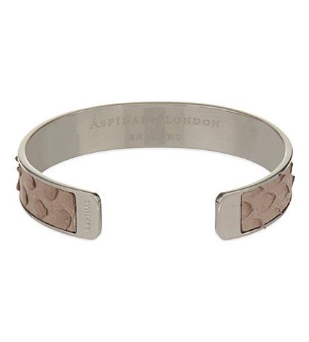 ASPINAL OF LONDON Cleopatra skinny python-leather cuff bangle M (Nude