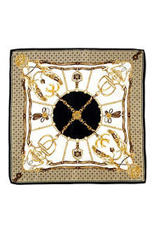 ASPINAL OF LONDON Horseshoe-printed silk scarf