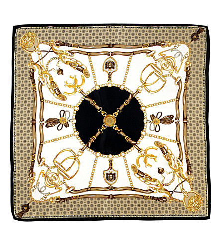ASPINAL OF LONDON Horse shoe-print silk scarf (Black