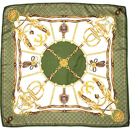 ASPINAL Horseshoe-printed silk scarf (Green