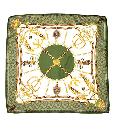 ASPINAL OF LONDON Silk scarf with green horse shoe & stirr (Green