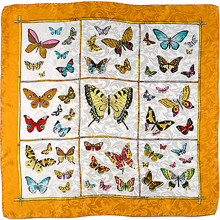 ASPINAL Butterfly-print silk scarf (Orange