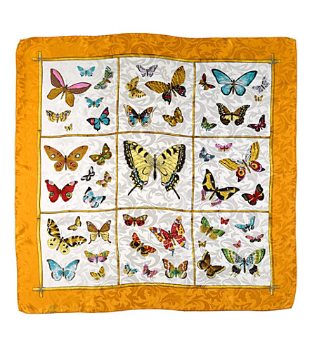 ASPINAL OF LONDON Silk scarf with orange butterflies (Orange