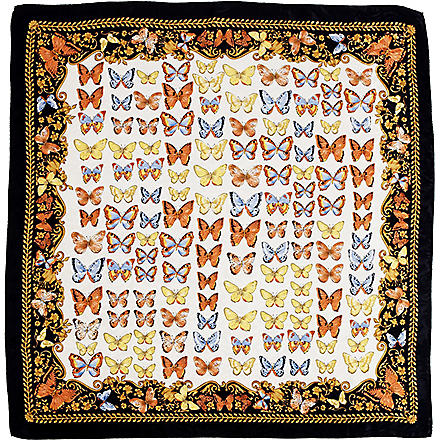 ASPINAL OF LONDON Butterfly-print silk scarf (Navy