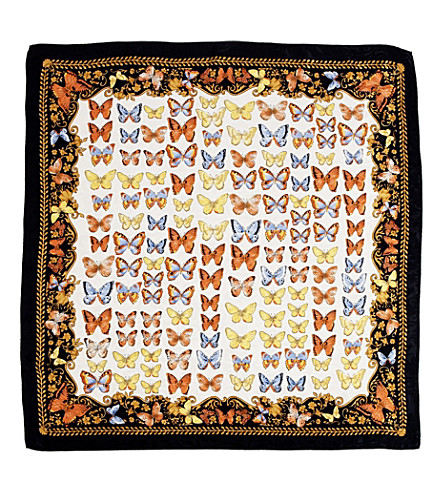 ASPINAL OF LONDON Silk scarf with navy butterflies (Navy