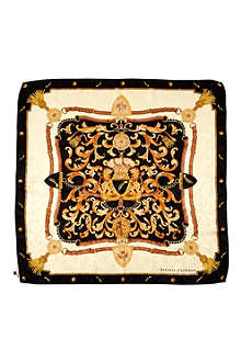 ASPINAL OF LONDON Crest and horseshoes silk scarf