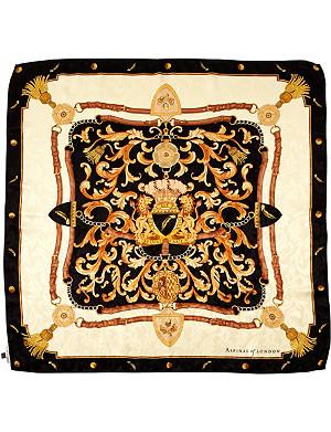 ASPINAL OF LONDON Signature Shield printed silk scarf