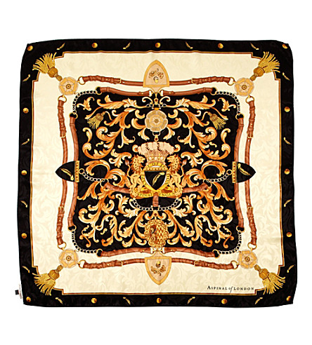ASPINAL OF LONDON Signature Shield printed silk scarf (Black