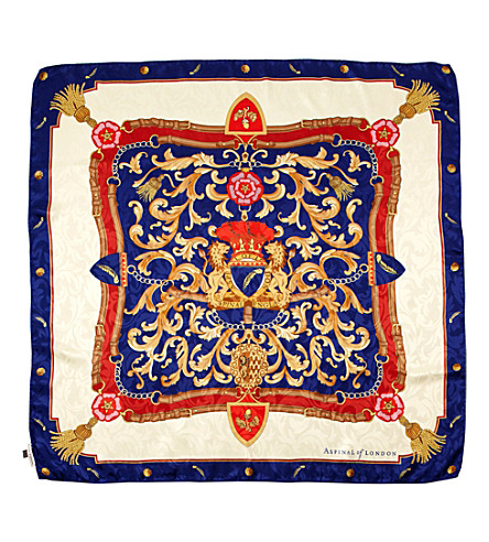 ASPINAL OF LONDON Signature shield silk scarf (Blue