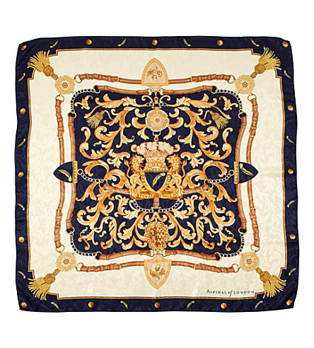 ASPINAL OF LONDON Crest and horseshoes scarf (Navy