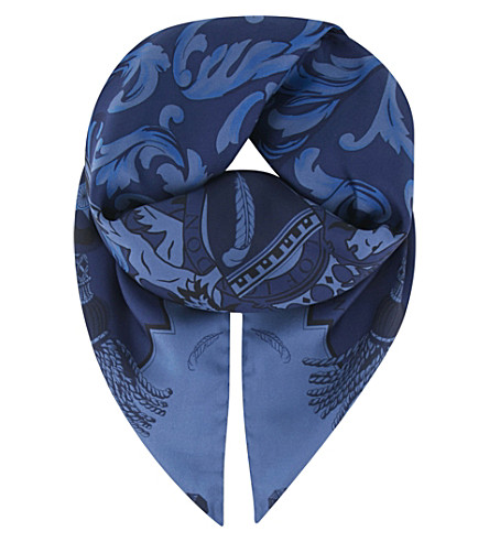 ASPINAL OF LONDON Signature crest silk scarf (Navy