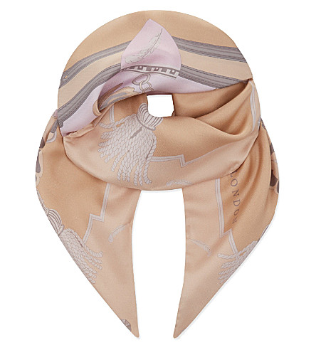 ASPINAL OF LONDON Signature print silk scarf (Nude