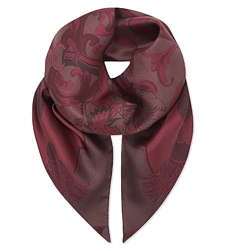 ASPINAL OF LONDON Signature print silk scarf (Burgundy