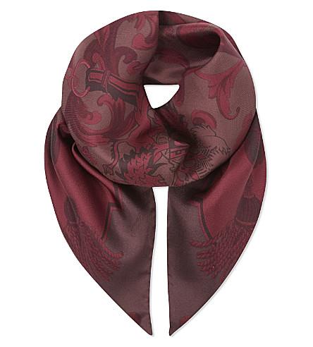 ASPINAL OF LONDON 标志性的印花真丝围巾 (勃艮第