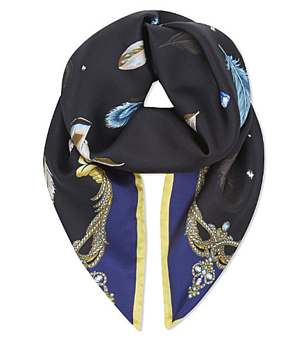 ASPINAL OF LONDON Feather print silk scarf (Black