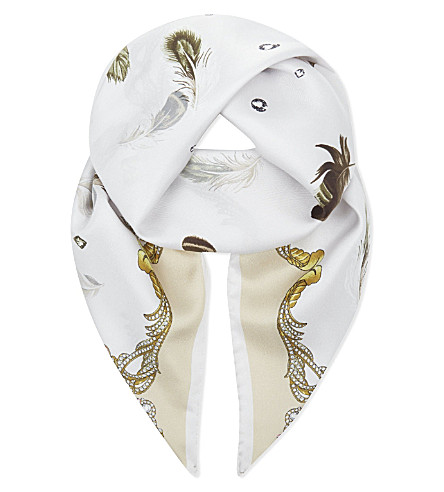 ASPINAL OF LONDON Signature print silk scarf (Cream