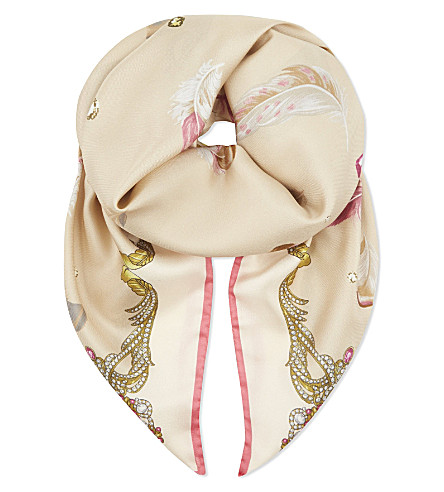 ASPINAL OF LONDON Feather print silk scarf (Nude