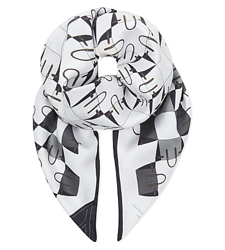 ASPINAL OF LONDON Marylebone geometric silk scarf in monochrome (Monochrome